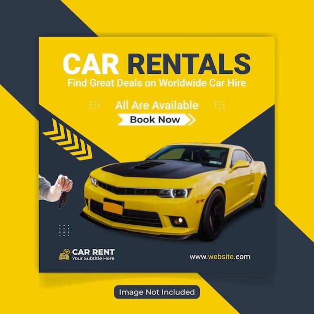 Rent Car For Social Media Banner Template Premium Vector
