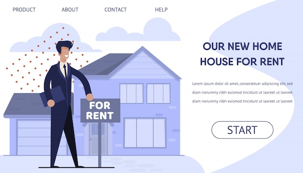 Rent real estate landing page with booking online Premium Vector