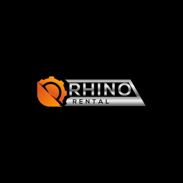 重機のレンタルロゴデザイン Premiumベクター