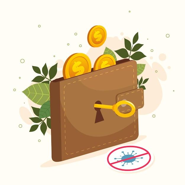 財布と鍵でコロナウイルス後に経済を再開する 無料ベクター
