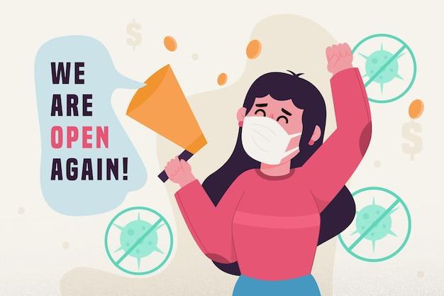 コロナウイルス後に経済を再開する 無料ベクター
