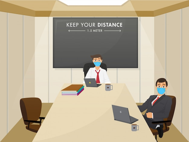 Reopen office concept after pandemic with maintain social distance message. Premium Vector