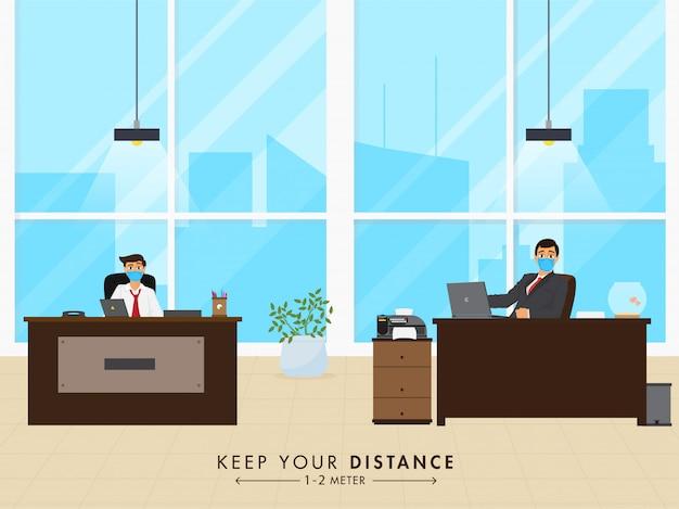 Открыть концепцию офиса после пандемии с сообщением о социальной дистанции. Premium векторы