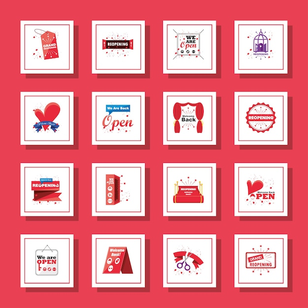 Reopening detailed style icons collection design of shopping and covid 19 virus Premium Vector