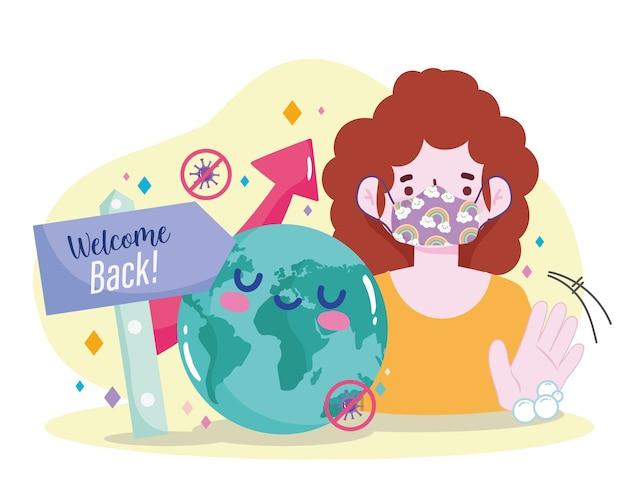 Повторное открытие приветствия женщины с иллюстрацией иллюстрации защиты маски Premium векторы
