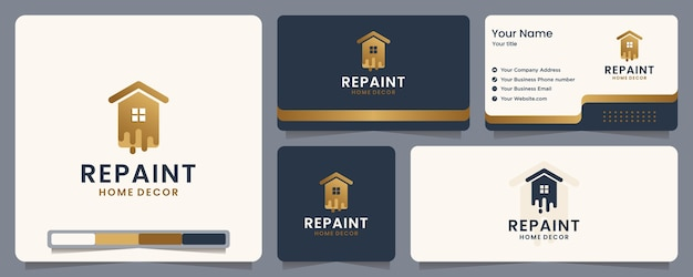 Repaint ,paint ,home ,banner and business card , logo design inspiration Premium Vector