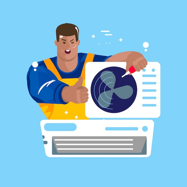 Repair of air conditioners. maintenance and installation of cooling systems Premium Vector
