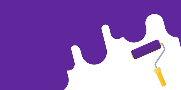 Repair concept. painting wall by paint roller background Premium Vector