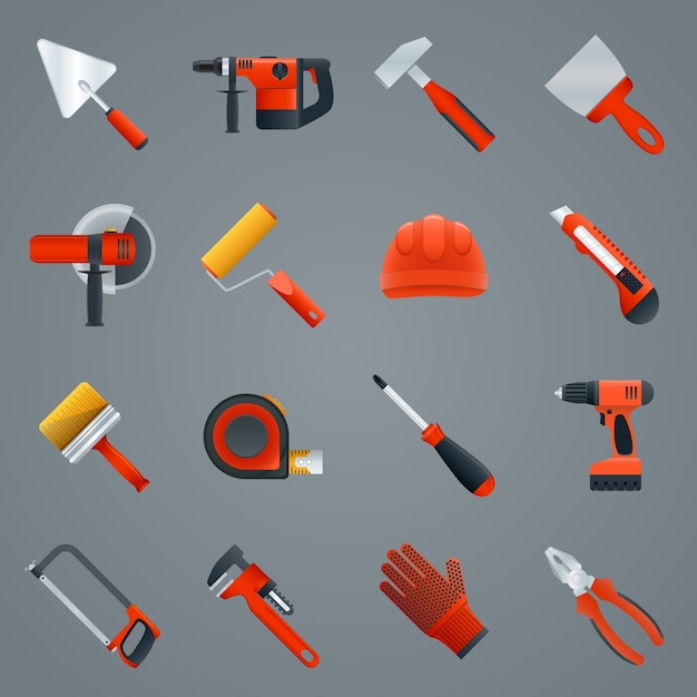 Repair and construction tools icons set with hammer saw screwdriver isolated vector illustration Free Vector