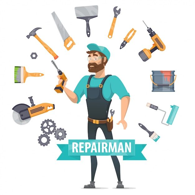 Repair elements round template Free Vector