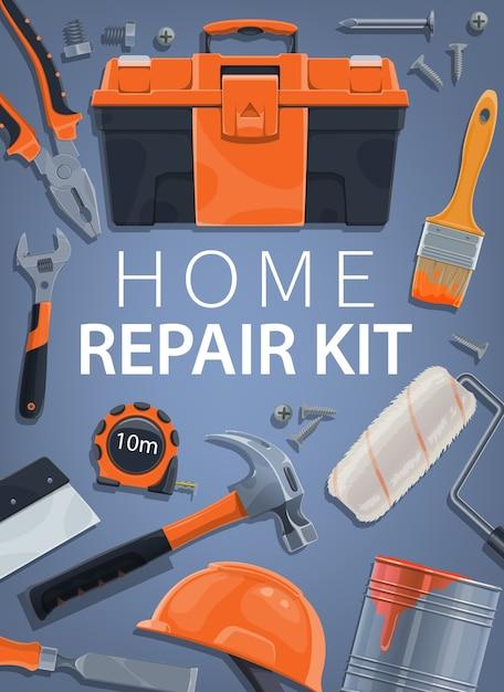 Ремонт, комплект строительных инструментов для дома, строительный ящик для инструментов и оборудование Premium векторы