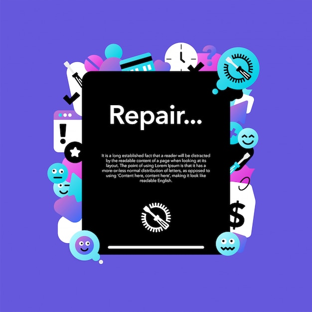 Repair of mobile equipment and tablets Premium Vector