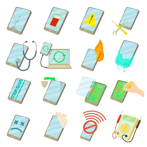 Repair phones fix icons set Premium Vector