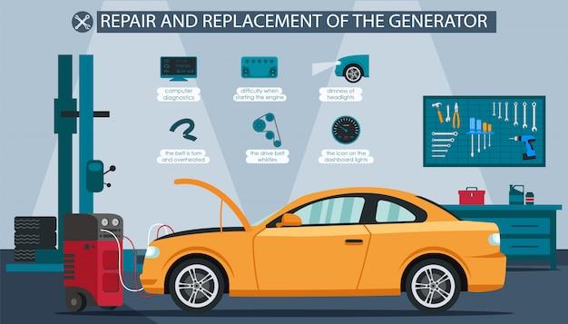 Repair and replacement generator illustration. Premium Vector