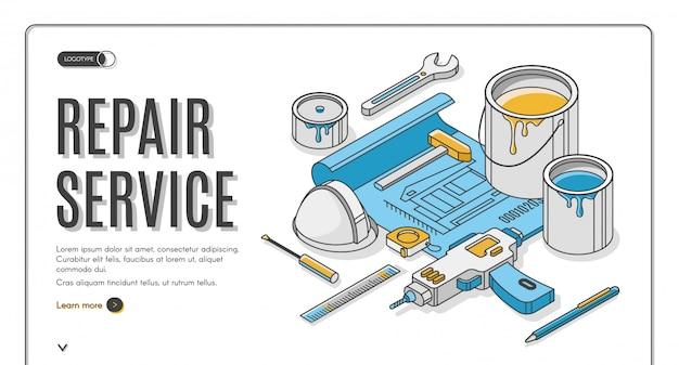 Repair service isometric banner Free Vector