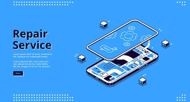 Repair service isometric landing page, disassembled mobile phone fixing, smashed smartphone with microcircuit and screen with gears, broken electronics device touchscreen 3d line art web banner Free Vector