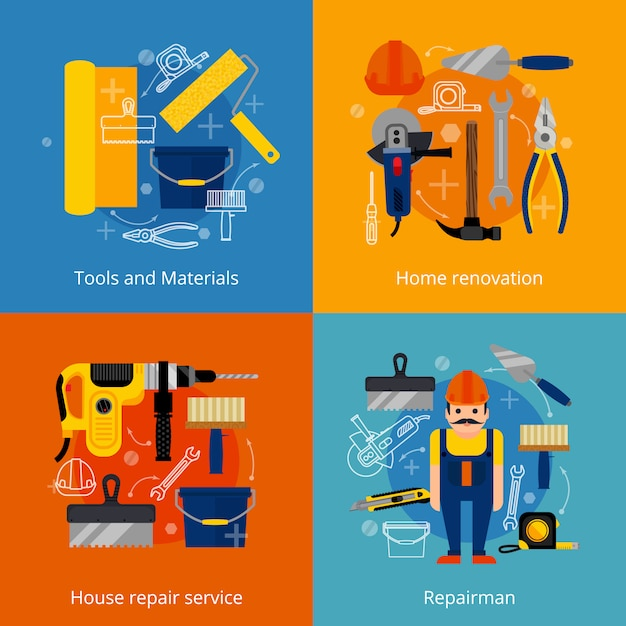 Repair service and renovation icons set Free Vector