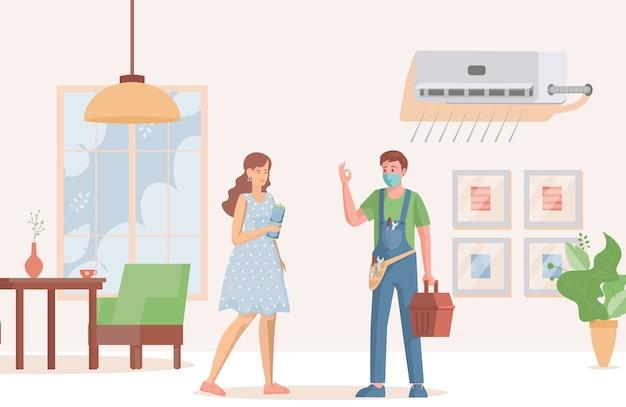 Repair specialist installs or repairs air conditioner for woman Premium Vector