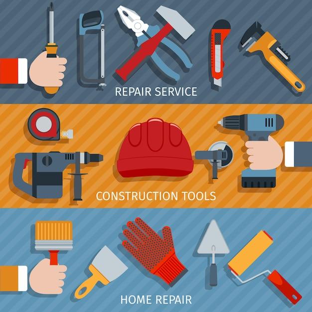 Repair tools banners Free Vector