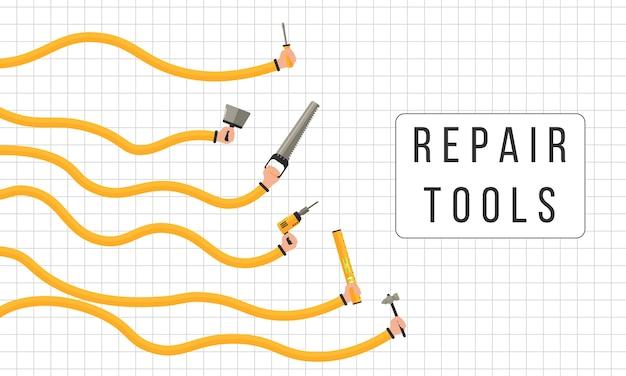 수리 도구. 인간의 손에 작업 도구를 개최합니다. 프리미엄 벡터