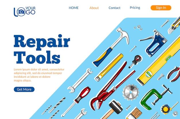 Repair tools landing page layout Premium Vector