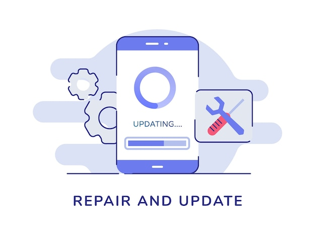 Repair and update concept updating process loading on smartphone screen gear wrench screwdriver white isolated background Premium Vector