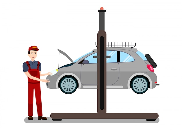 Repairman examines engine Premium Vector