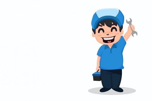 Repairman and tool happy to serve you happily. Premium Vector