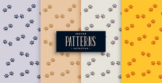 Repeated dog or cat paw print pattern set Free Vector