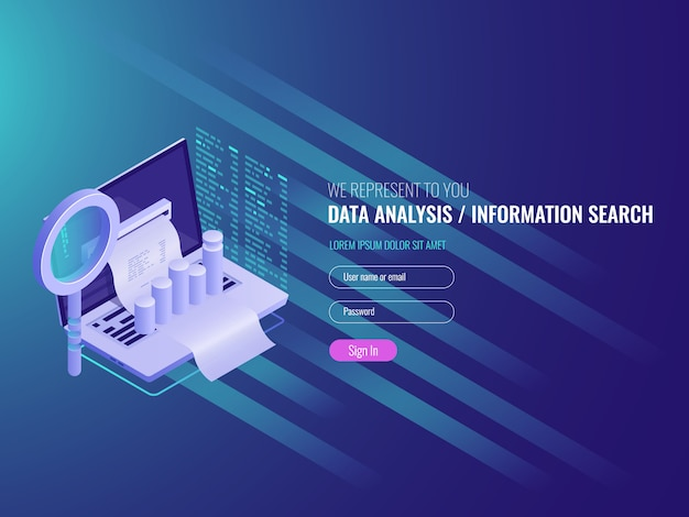 The report on the computer, program of statistics and analytics Free Vector