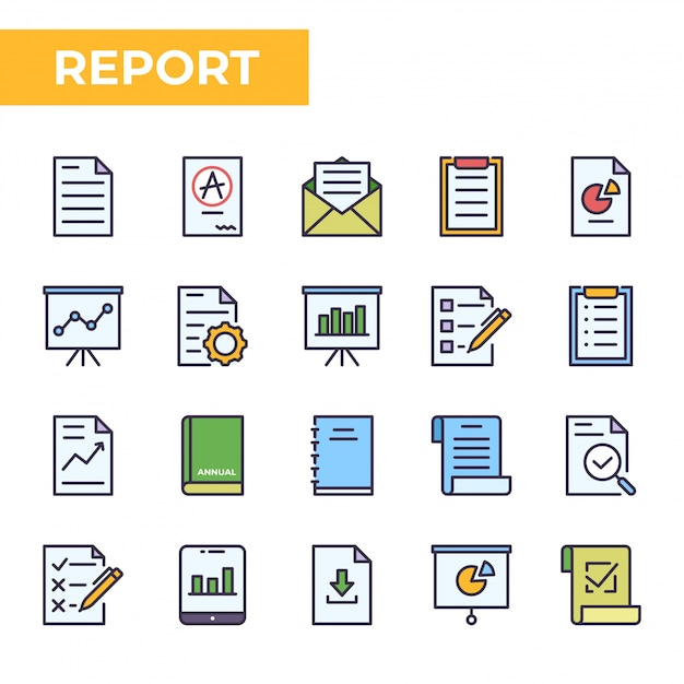 Report icon set, filled color style Premium Vector