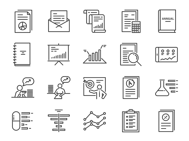 Report icon set Premium Vector