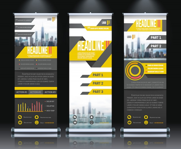Report rollup vertical banners set realistic isolated vector illustration Free Vector