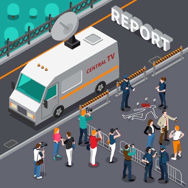 Reportage from murder scene isometric illustration Free Vector