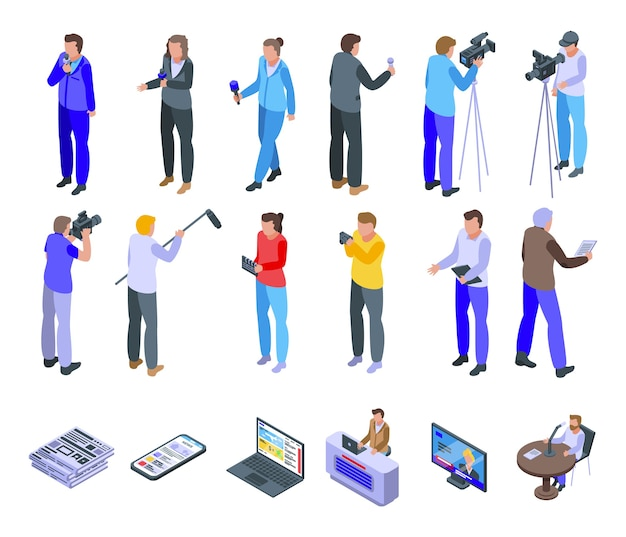 Reportage icons set. isometric set of reportage  icons for web  isolated on white background Premium Vector