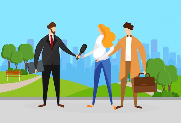 Reporter interviewing young couple on street. Premium Vector