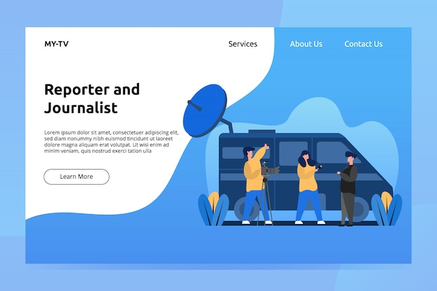 Reporter and journalist banner and landing page illustration Premium Vector