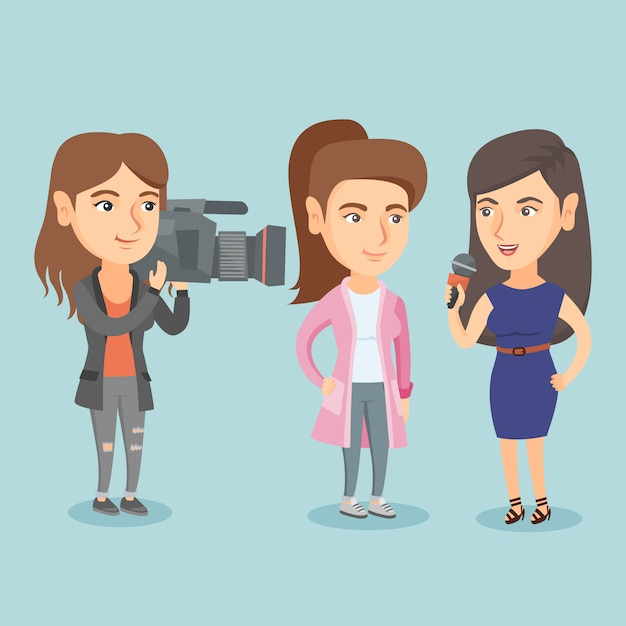 Reporter with a microphone interviews a woman. Premium Vector