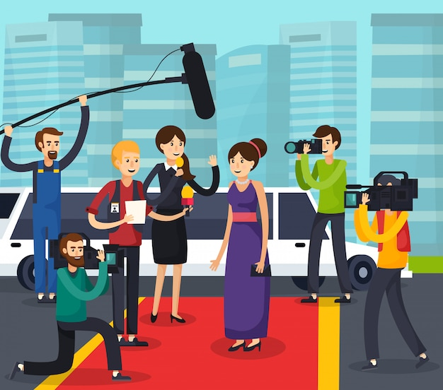 Reporters and celebrity orthogonal composition Free Vector