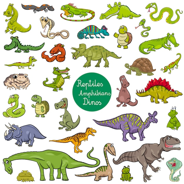 Reptiles And Amphibians Characters Set Premium Vector
