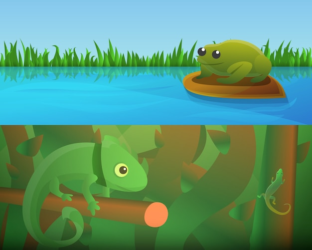 Reptiles amphibians illustration set on cartoon style Premium Vector