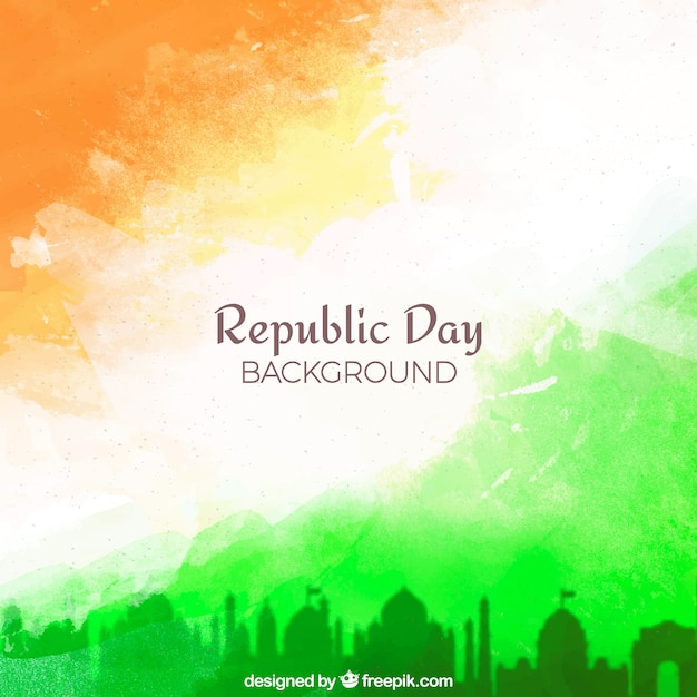 Republic day background with watercolor Free Vector