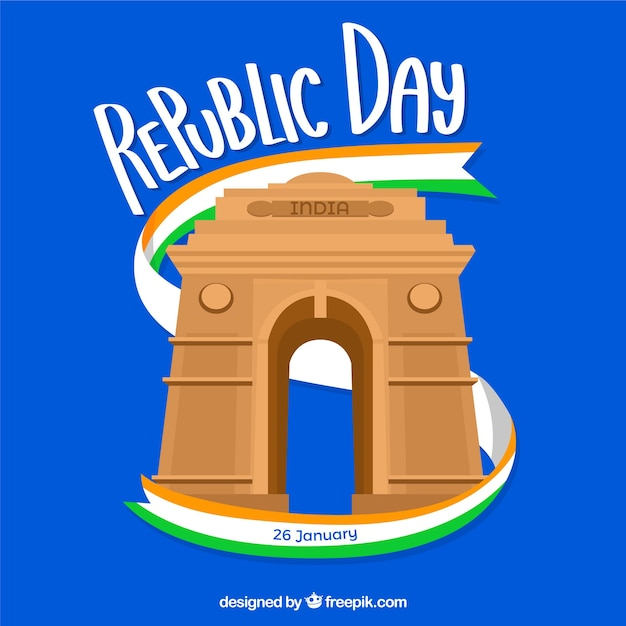 Republic day design wit gate Free Vector
