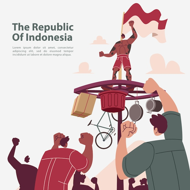 The republic of indonesia independence day celebration Premium Vector