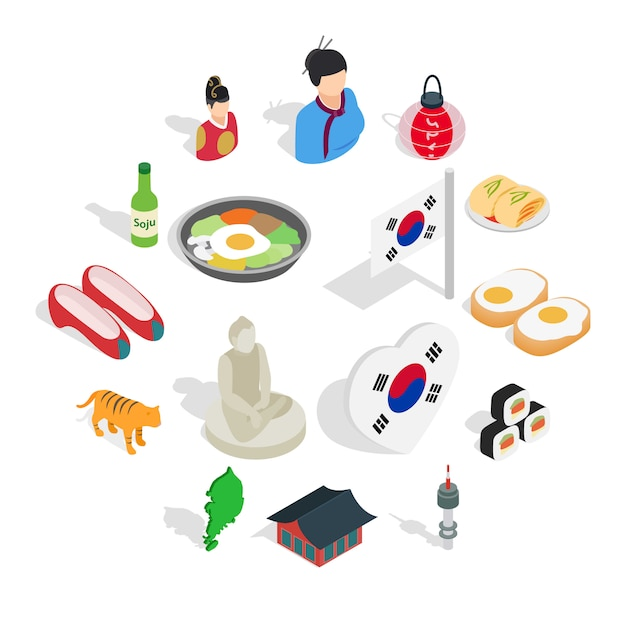 Republic of korea icons set, isometric 3d ctyle Premium Vector