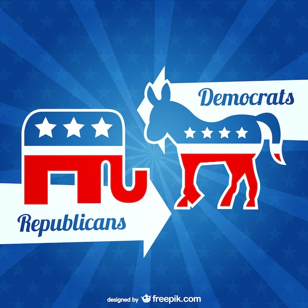 Republicans and democrats vector Free Vector