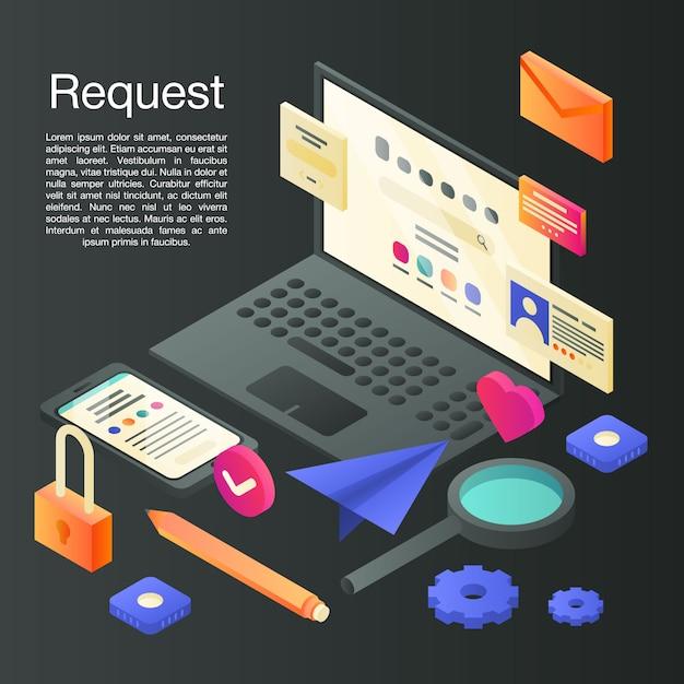 Request concept, isometric style Premium Vector