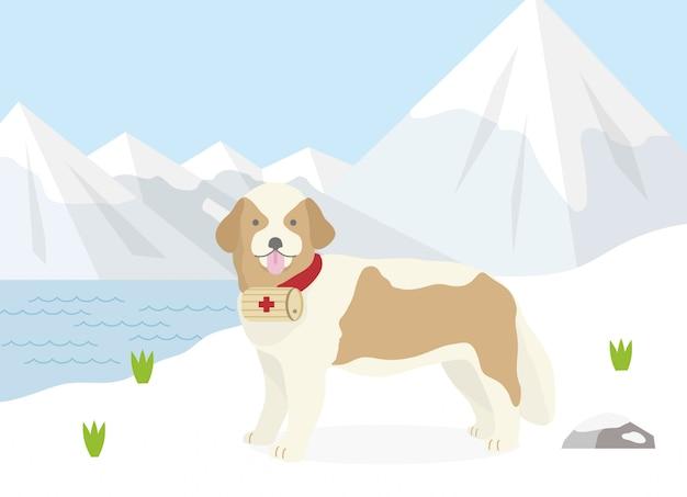 Rescue dog of the alps Premium Vector