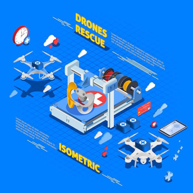 Rescue drones isometric composition Free Vector