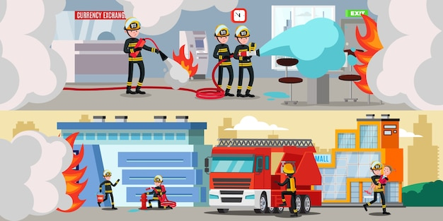 Rescue service colorful horizontal banners Free Vector